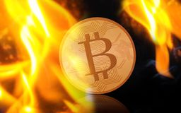 Gold bitcoin on fire over black background. Cryptocurrency, digital currency, finance and business concept - gold bitcoin on fire over black background Royalty Free Stock Photography
