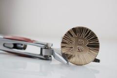 Gold-bitcoin Münze lizenzfreies stockfoto