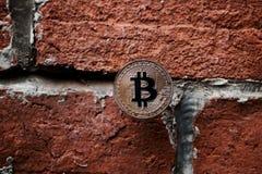 Gold-bitcoin Münze lizenzfreie stockfotos