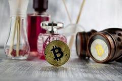 Gold-bitcoin Münzen-Duftkonzept lizenzfreies stockfoto
