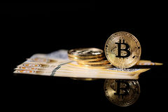Gold Bitcoin money Stock Photo