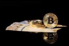 Gold Bitcoin money Stock Photo