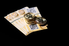 Gold Bitcoin money Royalty Free Stock Images