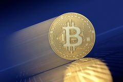 Gold Bitcoin moving up in Bull Market royalty free stock photos