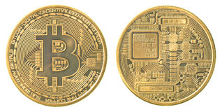 Gold bitcoin. (physical) isolated on white background