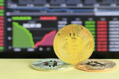 Gold bitcoin placed on wooden floor and digital graph background. In concept of cryptocurrency idea for design in your work Royalty Free Stock Image