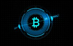 Gold bitcoin projection over black background royalty free illustration