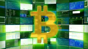Gold bitcoin sign against a green monitor render. A symbol of bitcoin on the green background of the mining farm that processes a large stream of data. Powerful vector illustration