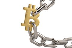 Gold bitcoin symbol with iron chain.3D illustration. Gold bitcoin symbol with iron chain. 3D illustration royalty free illustration