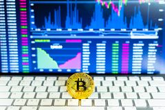 Gold bitcoin and trading chart background. Virtual currency concept Stock Photography