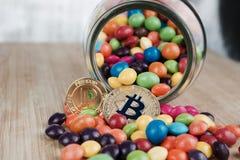 Gold- bitcoin und Gold-peercoin Lizenzfreies Stockbild