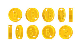 Gold bitcoin views cartoon style isolated. The gold bitcoin is at different angles around its axis for designers and illustrators. Rotation of a gold coin in stock illustration
