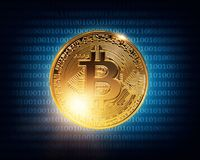 Gold bitcoin. On a wdark blue background Stock Images