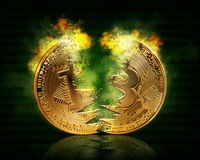 Gold bitcoin stock photos