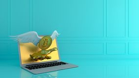 Gold bitcoin with wing and smartphone.Financial growth concept.3. D rendering  illustration Royalty Free Stock Image
