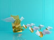 Gold bitcoin with wing and smartphone.Financial growth concept.3. D rendering  illustration Stock Images