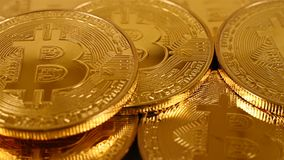 Gold-bitcoins stock footage