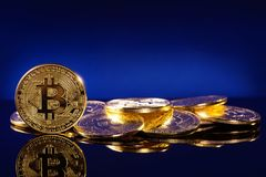 Gold bitcoins. On a blue background Stock Image