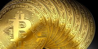 Gold bitcoins cryptocurrency isolated background internet symbol. Gold bitcoin cryptocurrency isolated background internet symbol money Stock Images