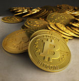Gold bitcoins Royalty Free Stock Photography