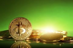 Gold bitcoins. On a green background Royalty Free Stock Photo