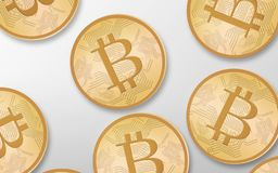 Gold bitcoins over white background from top Stock Photo