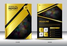 Gold Black Annual report template,gold cover design,brochure fl Stock Photo