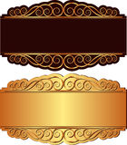 Gold and black background. With ornaments Royalty Free Stock Image