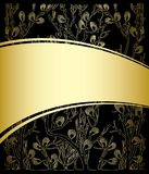 Gold and black background with floral pattern - vector. Gold and black background with floral pattern -  vector Royalty Free Stock Image