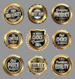Gold and Black Badge. Luxury Set. Stock Images