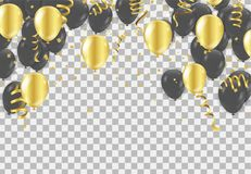 Gold and black balloons, vector illustration. Confetti and ribbons, Celebration background template vector illustration