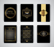 Gold and black brochure and menu templates Stock Image