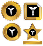 Gold and Black - Caduceus. Set of 3D gold and black chrome icons - caduceus Royalty Free Stock Images