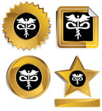 Gold and Black - Caduceus. Set of 3D gold and black chrome icons - caduceus medical symbol Royalty Free Stock Photography