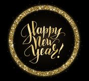 Gold and black card with Happy New Year text and glitter frame. Sparkling holiday background, vector dust border Stock Image