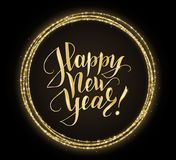 Gold and black card with Happy New Year text and glitter frame. Sparkling holiday background, vector dust border Stock Photo