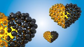 Gold and black caviar hearts made of spheres with reflections  on bright background. Happy womans day 3d illustration Royalty Free Stock Photography