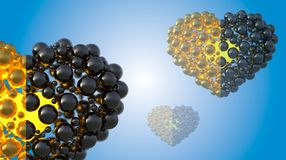 Gold and black caviar hearts made of spheres with reflections  on bright background. Happy womans day 3d illustration Royalty Free Stock Images