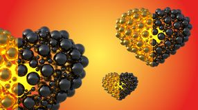 Gold and black caviar hearts made of spheres with reflections  on bright background. Happy womans day 3d illustration Stock Photography