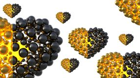 Gold and black caviar hearts made of spheres with reflections isolated on bright background. Happy womans day 3d illustration Royalty Free Stock Photos