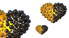 Gold and black caviar hearts made of spheres with reflections isolated on bright background. Happy womans day 3d illustration Royalty Free Stock Photography