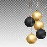 Gold and Black Christmas Ball with Ball on Transparent Background Vector Illustration Stock Photo