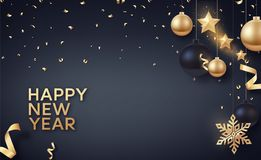 Gold and black Christmas balls with gold stars and big golden snowflake. Vector background for happy new year and Christmas Stock Images