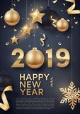 Gold and black Christmas balls with gold stars and big golden snowflake. Vector illustration of happy new year 2019 Stock Image