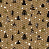 Gold and black christmas winter woods seamless pattern. Gold and black winter woods seamless vector pattern. Christmas star snowy background with eve and pines Royalty Free Stock Photos