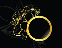 Gold black circular element. Gold and black design frame on a black background vector illustration