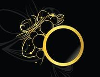 Gold black circular element. Gold and black design frame on a black background Stock Images