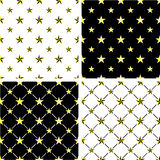 Gold & Black Color Nautical Star Big & SmallSeamless Pattern Set Royalty Free Stock Image