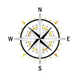 Gold black compass. Isolated vector compass. Vector geo mark Wind Rose. Rose Wind in lineal style. Image of Compass for Columbus Day. Vector marine wind rose for Stock Images