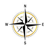 Gold black compass. Isolated vector compass. Vector geo mark Wind Rose. Rose Wind in lineal style. Image of Compass for Columbus Day. Vector marine wind rose for Royalty Free Stock Images